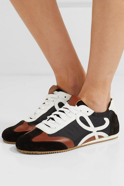 Loewe leather, suede and shell sneakers in black