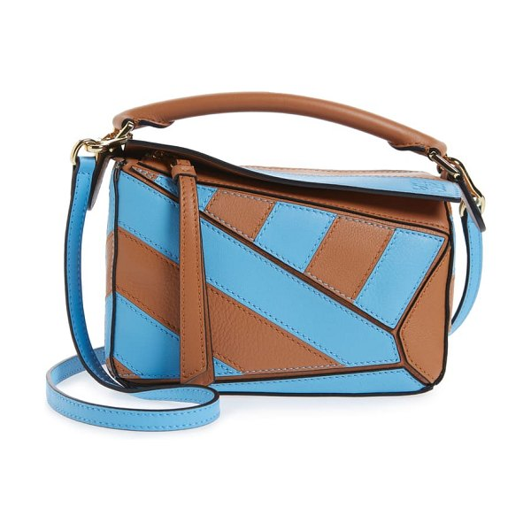 Loewe mini puzzle rugby stripe leather bag in tan/ sky blue
