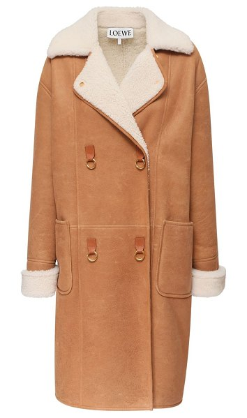 Loewe Oversize double breasted shearling coat in light brown