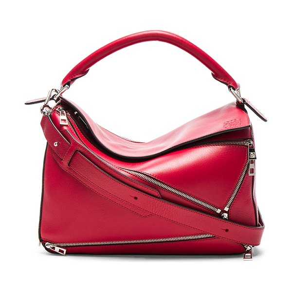 """Loewe Puzzle Zips Bag in red - """"Calfskin leather with twill fabric lining and..."""