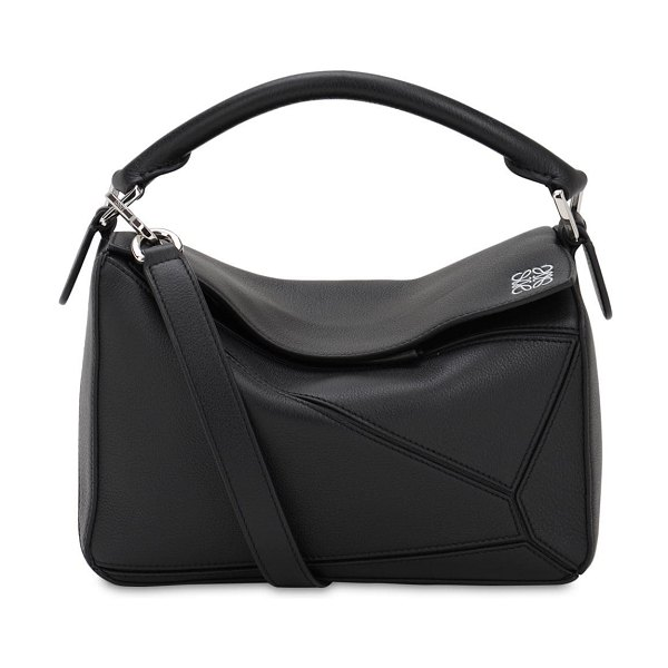 Loewe Small puzzle leather bag in black