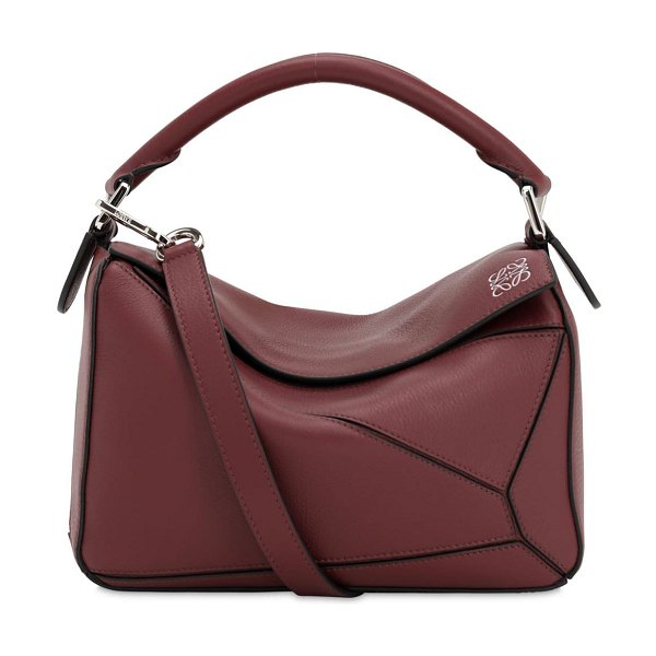 Loewe Small puzzle leather top handle bag in bordeaux