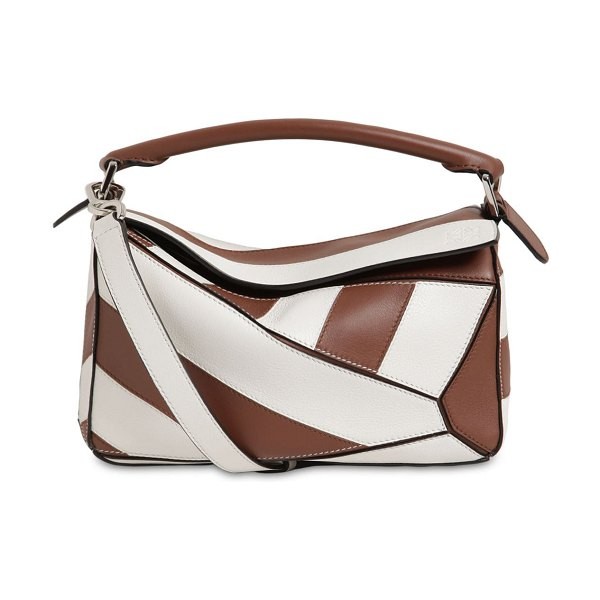 Loewe Small puzzle rugby leather bag in brunette,white