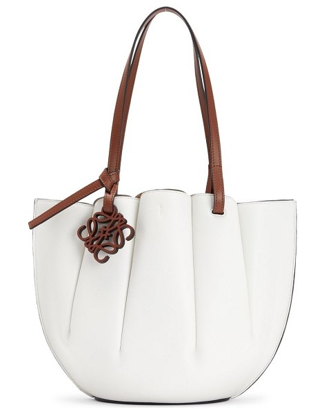 Loewe small shell leather tote in soft white