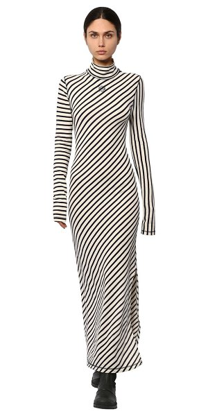 Loewe Striped cotton jersey flared dress in blue,white