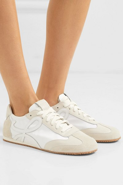 Loewe suede and leather sneakers in white