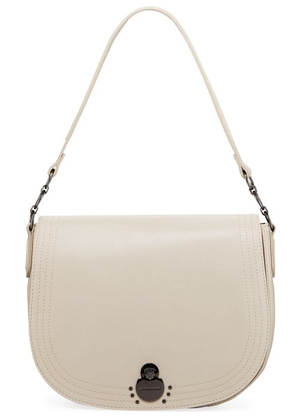 "Longchamp Cavalcade Large Leather Shoulder Saddle Bag in clay - Longchamp ""Cavalcade"" lambskin leather shoulder bag with..."