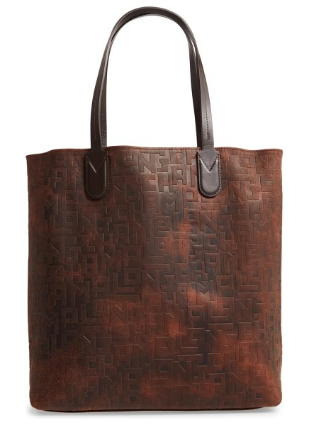 Longchamp essential embossed leather north/south tote in tobacco