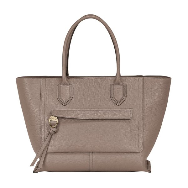 Longchamp large mailbox leather top handle bag in taupe