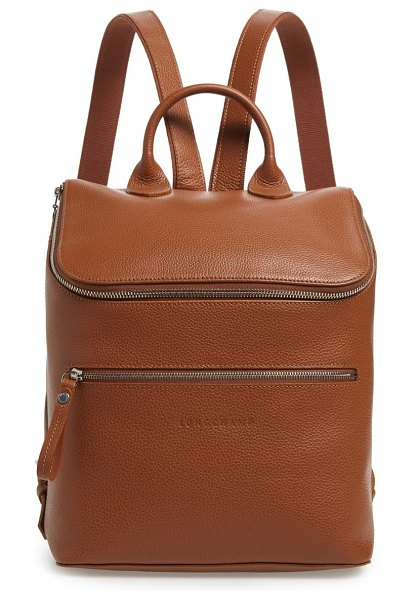 Longchamp le foulonne leather backpack in caramel