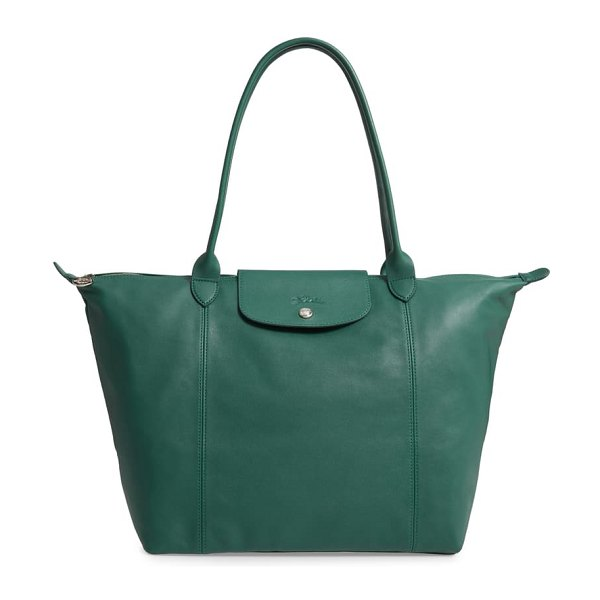 Longchamp le pliage cuir leather tote in emerald green