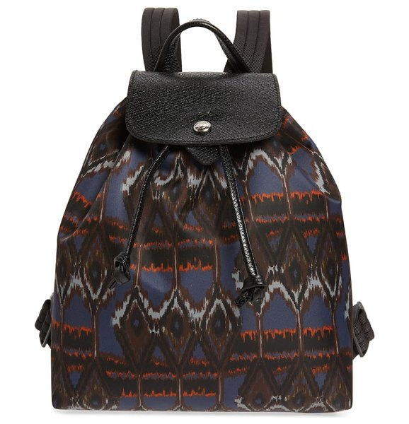 Longchamp le pliage ikat backpack in blue - Watery ikat patterning updates a compact nylon backpack...