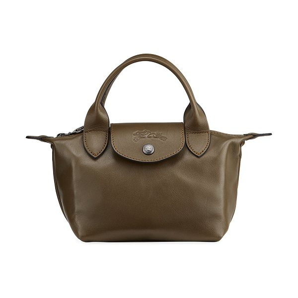 Longchamp Le Pliage Leather Handbag with Strap in green