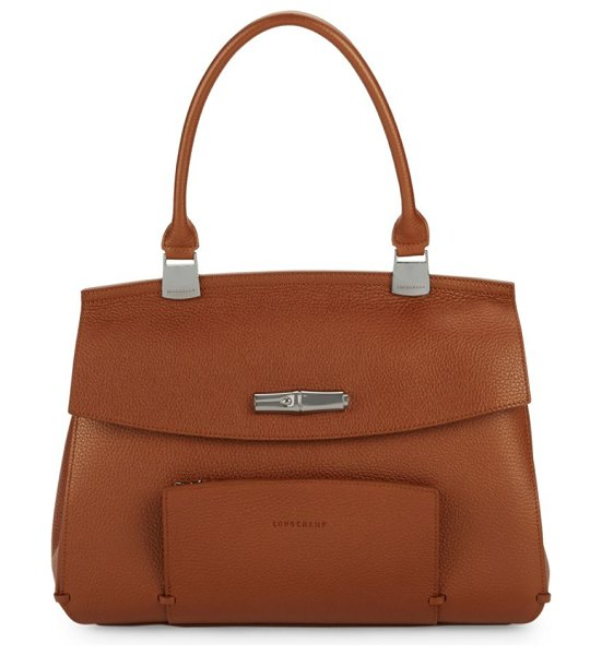 Longchamp Madeleine Leather Top Handle Bag in caramel