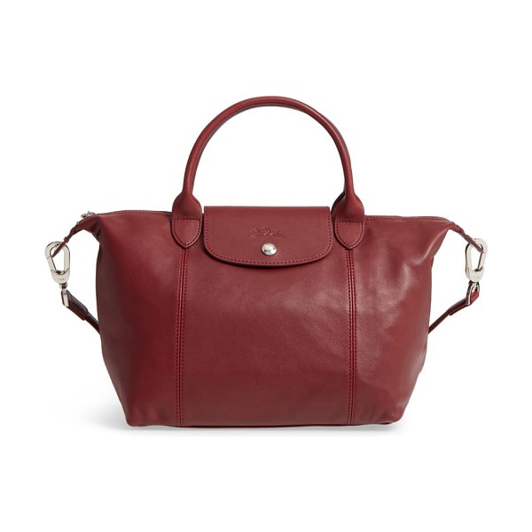 Longchamp small 'le pliage cuir' leather top handle tote in red lacquer