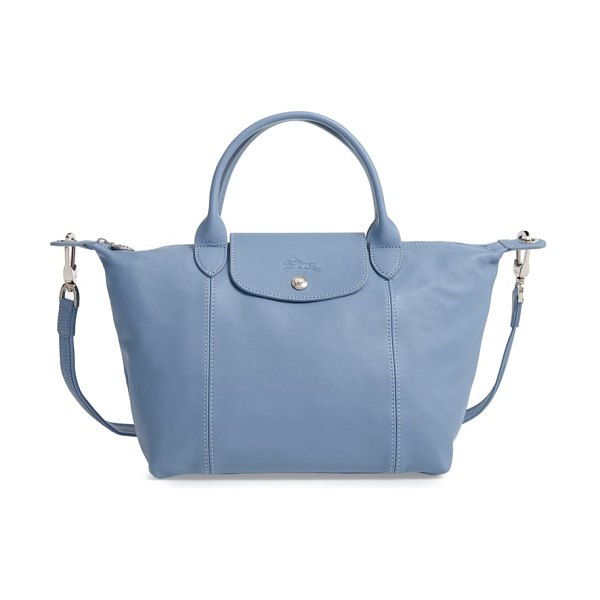 Longchamp small 'le pliage cuir' leather top handle tote in mist blue