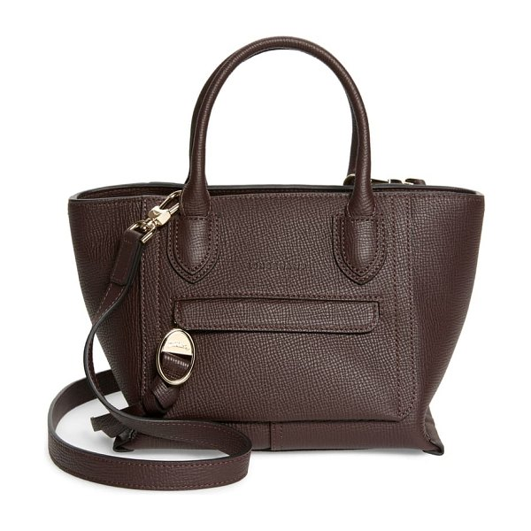 Longchamp small mailbox leather top handle bag in aubergine