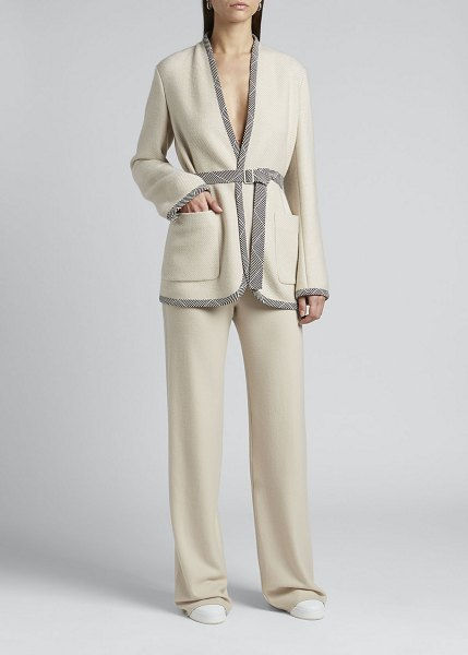 Loro Piana Caryl Wool-Cashmere Belted Jacket in a03r creme carame