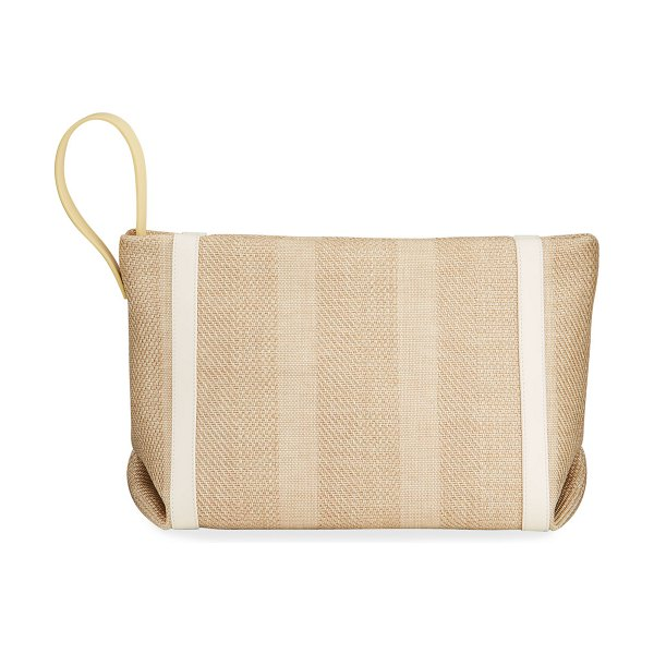 Loro Piana Inside Out Striped Canvas Clutch Bag in natural/white