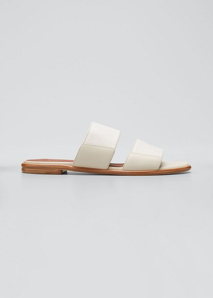 Loro Piana Kalahari Two Band Slide Sandals in beige