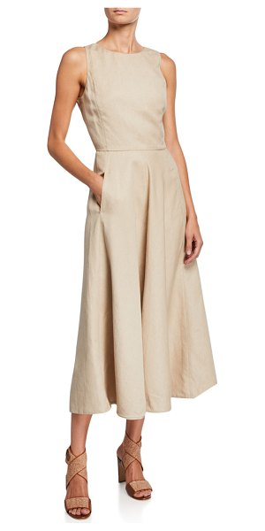 Loro Piana Nancy Linen A-Line Dress in sand