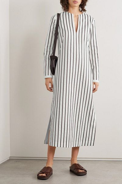 Loro Piana striped cotton-blend jacquard midi dress in white