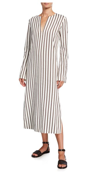 Loro Piana Striped Cotton Long-Sleeve Dress in white/brown