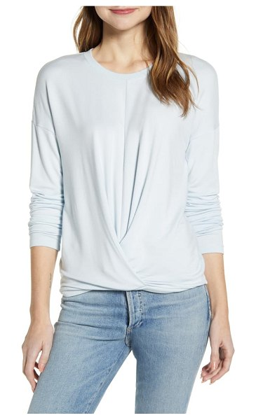 LOU & GREY signature soft twist front pullover in bright skyway blue