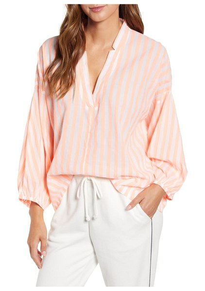 LOU & GREY stripe poet blouse in orange multi