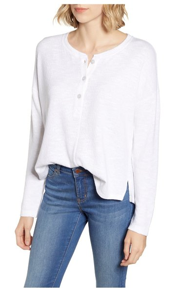 LOU & GREY textured henley top in white