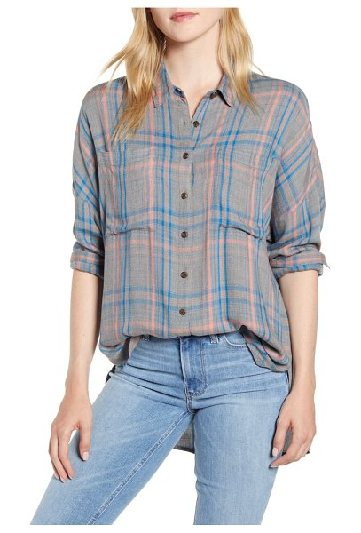 LOU & GREY victoria button front plaid shirt in grey multi