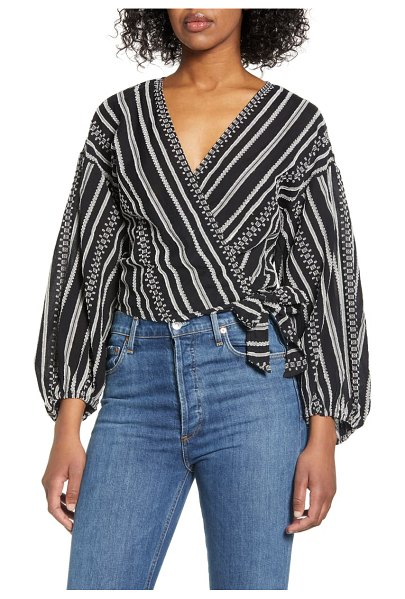 LOU & GREY wrap top in black