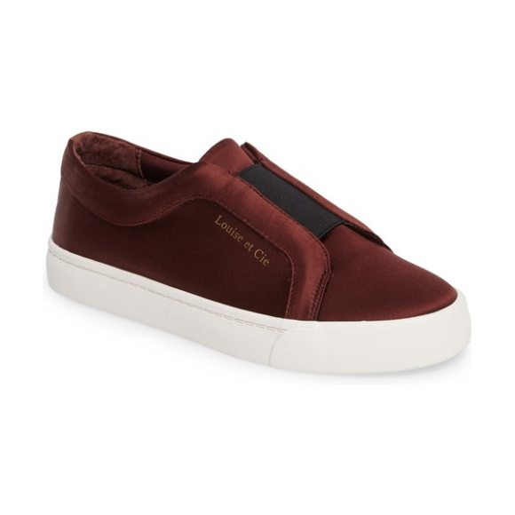 Louise et Cie bette slip-on sneaker in dark red satin - A sleek sneaker with slip-on ease, what can be better...