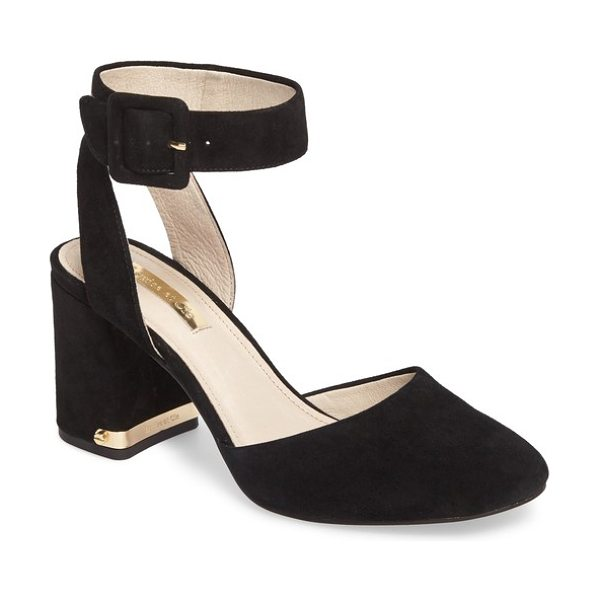 Louise et Cie ines ankle strap pump in black suede - A gleaming logo-embossed plate at the heel adds...
