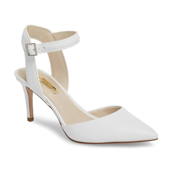 Louise et Cie kota ankle strap pump in white leather - A demure stiletto heel provides elegant lift to a...