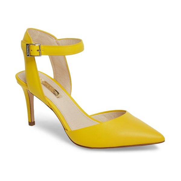 Louise et Cie kota ankle strap pump in citrine leather - A demure stiletto heel provides elegant lift to a...