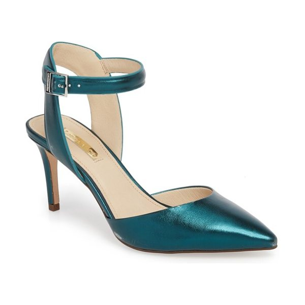 Louise et Cie kota ankle strap pump in teal metallic leather - A demure stiletto heel provides elegant lift to a...
