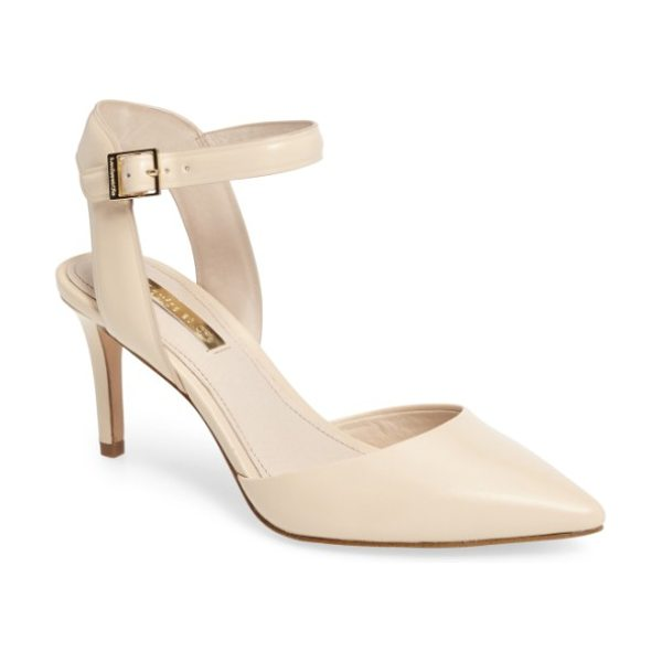 Louise et Cie kota ankle strap pump in creme fresh leather