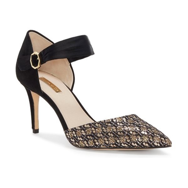 Louise et Cie kouris pump in gold/ black satin - Shimmering sequins embellish the pointy toe of a...