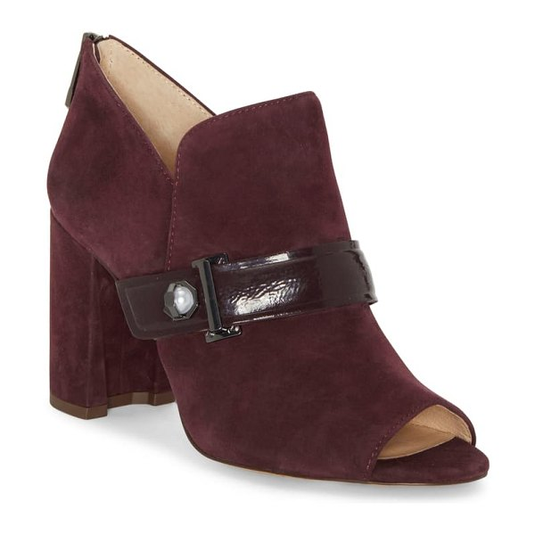 Louise et Cie lander open toe bootie in dark plum suede