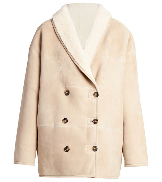 Loulou Studio cebu double breasted shearling jacket in taupe