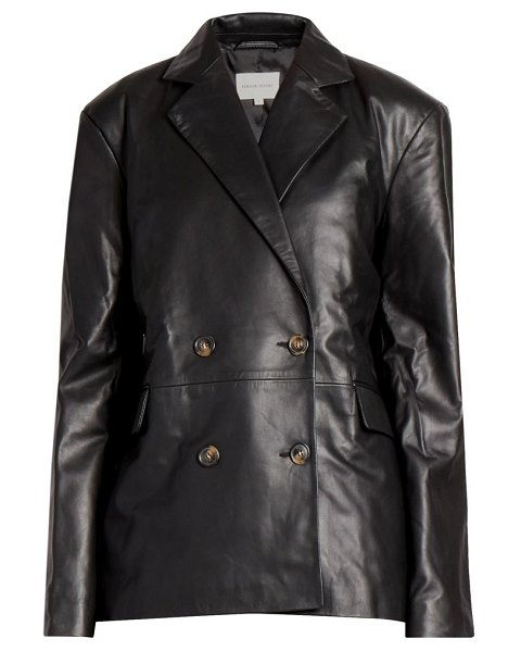 Loulou Studio davao double breasted leather blazer jacket in black