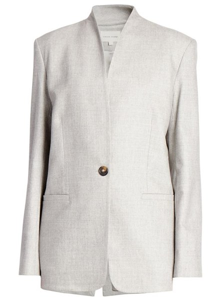 Loulou Studio folaca collarless single button wool & cashmere stretch jacket in grey melange