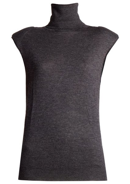 Loulou Studio new bruzzi sleeveless wool & cashmere turtleneck top in black