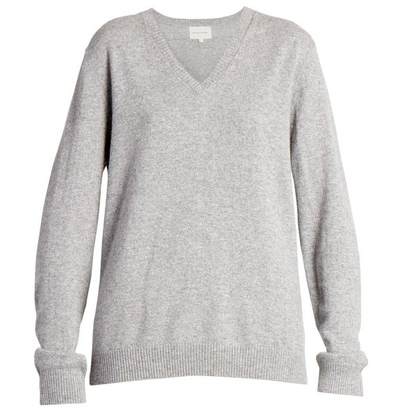 Loulou Studio new serafini v-neck cashmere sweater in grey melange