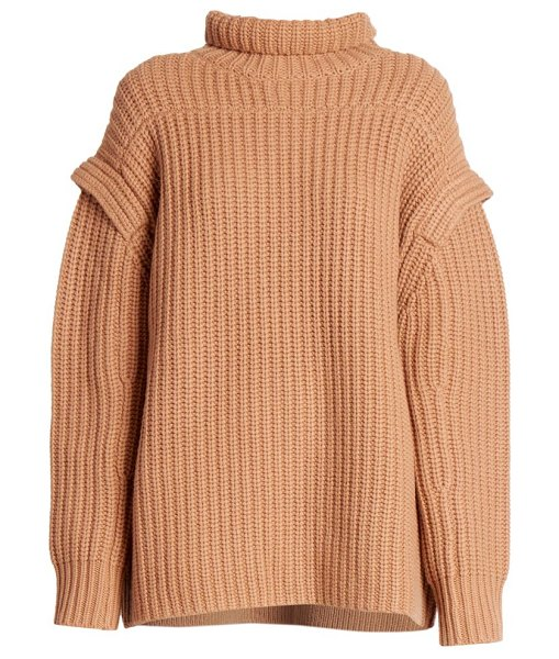 Loulou Studio parata stand collar wool & cashmere knit sweater in camel