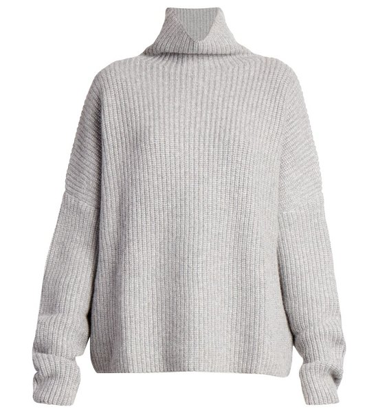 Loulou Studio roscana ribbed cashmere turtleneck knit sweater in grey