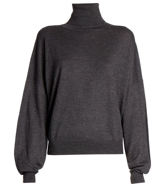 Loulou Studio tizzano lightweight marled wool & cashmere turtleneck in black