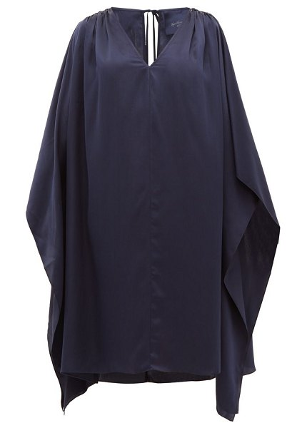 LOUP CHARMANT juno cut-out shoulder silk kaftan in navy