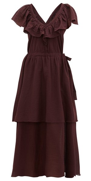 LOUP CHARMANT kalam ruffled organic-cotton dress in dark purple